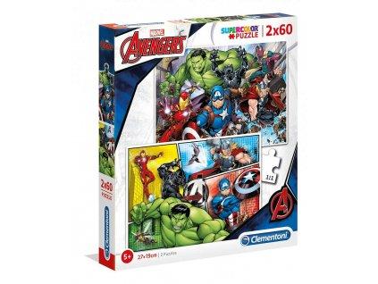 Puzzle Marvel: Avengers 2 x 60 dílků (27 x 19 cm)