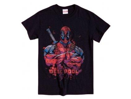 Pánské tričko Marvel|Deadpool: Pose Splat  černá bavlna