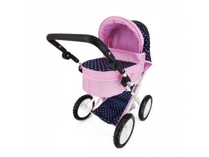 Kočárek pro panenky s polohovací rukojetí modro/růžový s puntíky