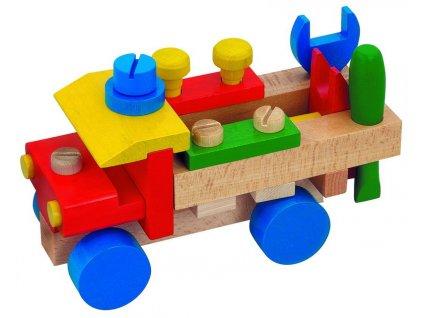 Dřevěné tahací montážní auto