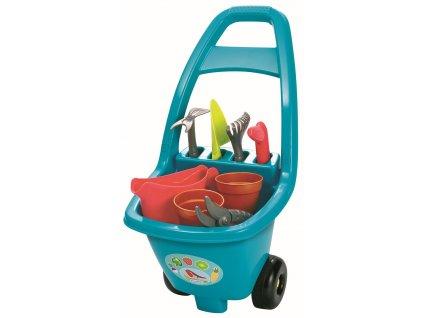 Zahradní vozík s nářadím, květináči a konvičkou