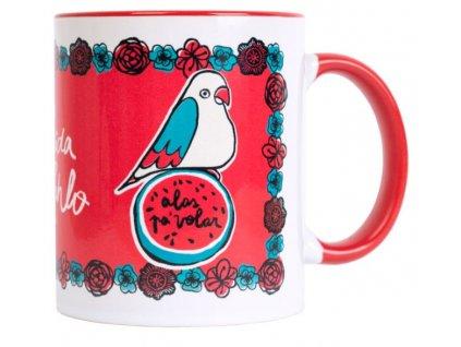 Keramický hrnek Frida Kahlo: Létající křídla (objem 300 ml) červený