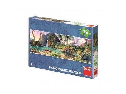 Puzzle 150 Dinosauři u jezera panoramic