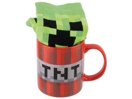 Dárkový set - hrnek s ponožkami Minecraft: TNT (objem 315 ml|EU 41 - 46)