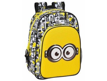 Školní batoh Minions|Mimoni: Eyes (objem 19 litrů|33 x 42 x 14 cm) žlutý polyester