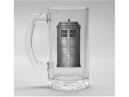 Sklenice korbel Doctor Who Pán Času: Tardis Kovové logo (objem 500 ml)