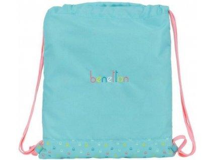 Pytlík se šňůrkami - gym bag Benetton: Candy (35 x 40 cm) tyrkysový polyester
