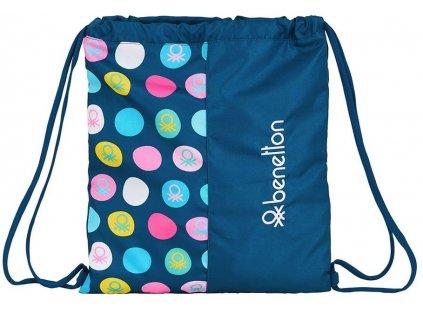 Pytlík se šňůrkami - gym bag Benetton: NAVY (35 x 40 cm)