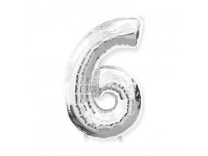 Stříbrná fóliová číslice 6