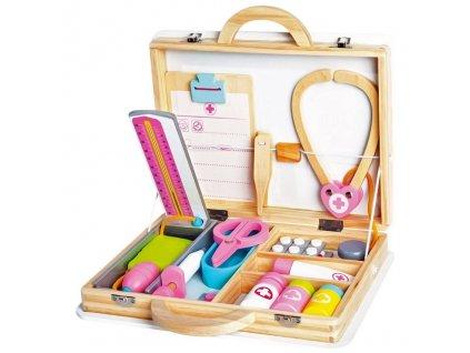 Dřevěný lékařský set v kufříku
