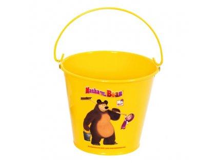 Máša a medvěd - kovový kbelík
