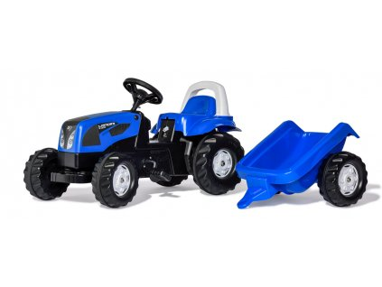 Šlapací traktor Rolly Kid Landini modrý s vlekem
