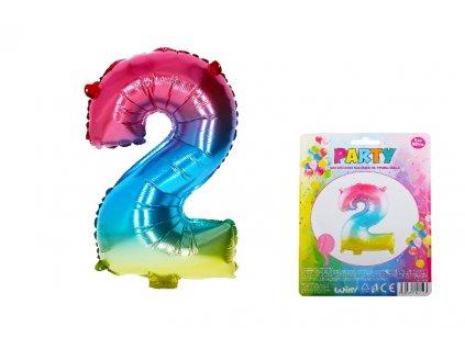 Balónek nafukovací - číslo 2 duhový