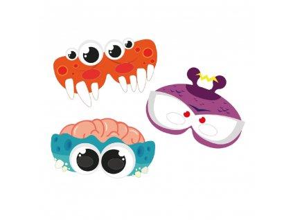Maska Monster party papírová 3 ks