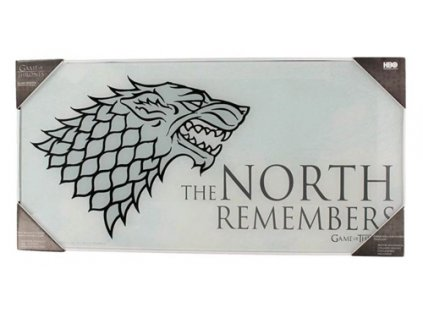 OBRAZ NA SKLE 50 x 25 cm  GAME OF THRONES/THE NORTH REMEMBERS