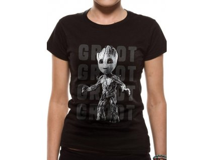 TRIČKO DÁMSKÉ/GUARDIANS OF GALAXY 2  STRÁŽCI GALAXIE/GROOT PHOTO (XL)