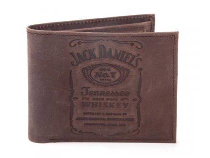 PENĚŽENKA OTEVÍRACÍ/JACK DANIEL'S  DEBOSSED LOGO/HNĚDÁ/17 x 10 cm