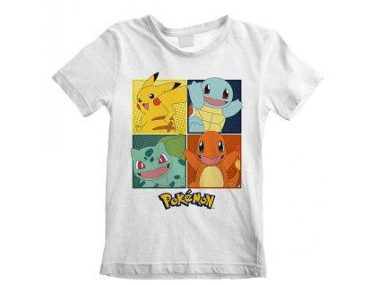 Dětské tričko Pokémon: Squares (7-8 let) bílé bavlna