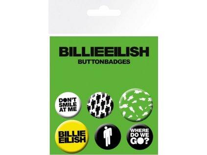 Placka Billie Eilish: Stickman Set 6 placek (průměr 25 mm a 32 mm)