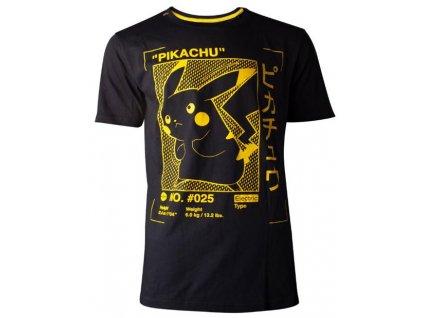 Pánské tričko Pokémon: Pikachu Profile (S) černá bavlna
