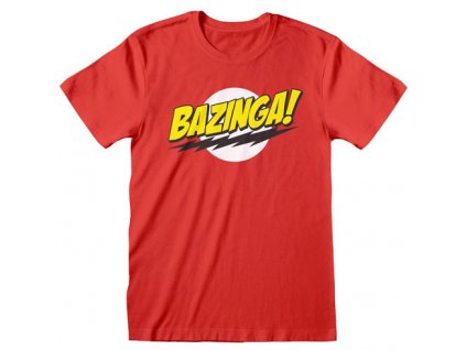 Pánské tričko Big Bang Theory Teorie velkého třesku: Bazinga (L) červené bavlna
