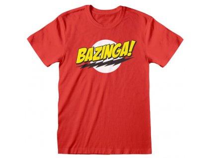 Pánské tričko Big Bang Theory|Teorie velkého třesku: Bazinga (XL) červené bavlna