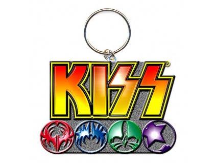 Přívěsek na klíče Kiss: Logo & Icons (3 x 4 cm) kovový