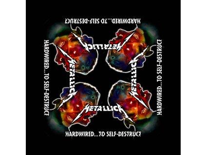 Multifunkční šátek Metallica: Hardwired To Self Destruct (55 x 55 cm) černá bavlna