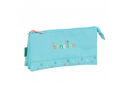 Trojitý penál na tužky Benetton: Candy vzor 12075 (22 x 12 x 3 cm) modrý polyester