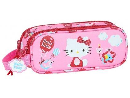 Penál na tužky Hello Kitty: Balloon vzor 12016 (21 x 6 x 8 cm) růžový polyester