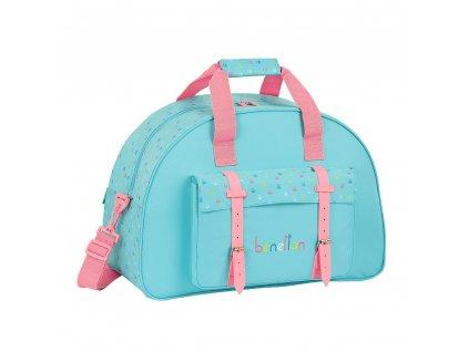 Sportovní taška Benetton: Candy vzor 12075 (objem 33 litrů|48 x 33 x 21 cm) modrý polyester