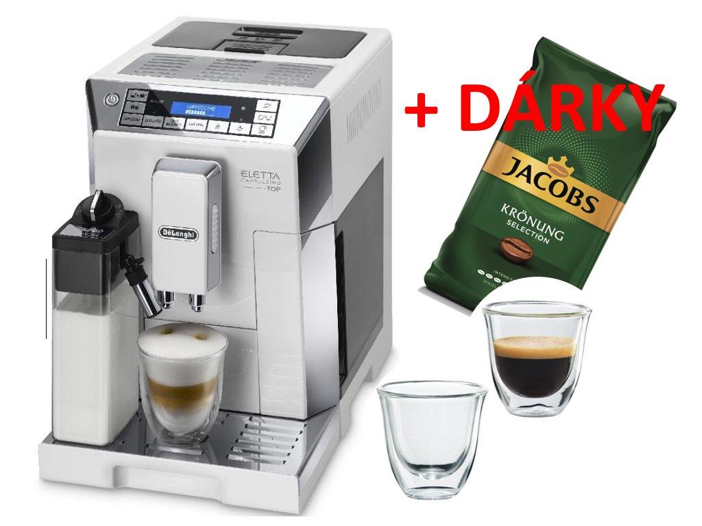 Espresso DeLonghi ECAM 45.760 W bílé  + AKCE + Termoskleničky na espresso + 1 kg kávy ZDARMA