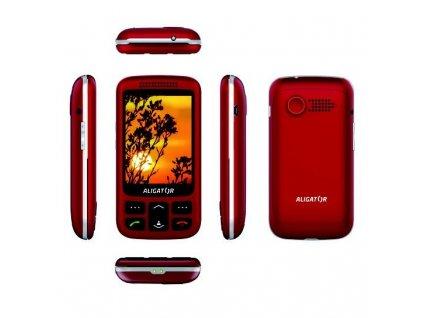Mobilní telefon Aligator VS 900 Senior Dual SIM - stříbrný/červený