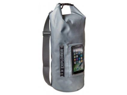 """Celly voděodolný vak Explorer 10L s kapsou na telefon do 6,2"""" - šedý"""
