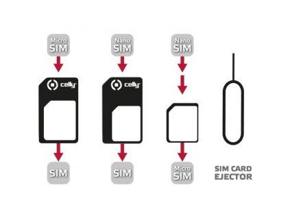 Adaptér Celly z nanoSIM na microSIM a miniSIM karty SIMKITAD