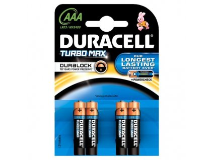 Baterie alkalická Duracell Turbo AAA, LR03, blistr 4ks