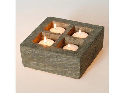 Svícen z kamene HD Home Design (A00230), tmavě šedá