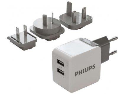 Cestovní adaptér Philips 2x USB, 3,1A