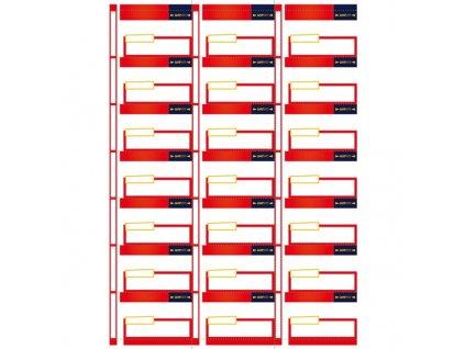 Cenovka Datart nová verze V2, malá, rozměr 7x4 cm, červená barva, balení 100 ks
