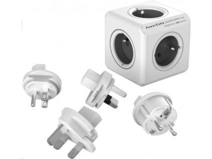 Cestovní adaptér Powercube Rewirable + Travel Plugs - šedý