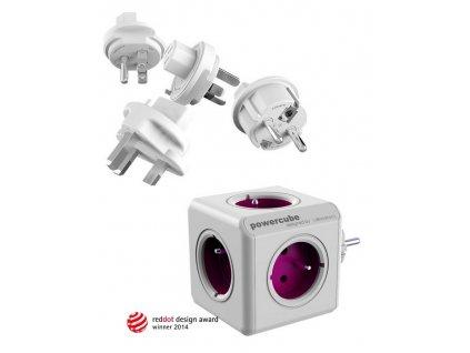 Cestovní adaptér Powercube ReWirable + Travel Plugs - fialový