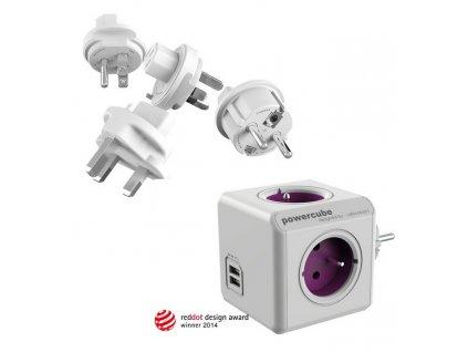 Cestovní adaptér Powercube ReWirable USB + Travel Plugs - fialový