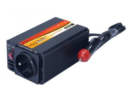 Měnič napětí Solight 12V, 200W, kovový, černý, 12V + USB 500mA