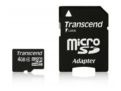 Paměťová karta Transcend MicroSDHC 4GB Class4 + adapter