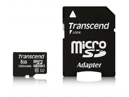 Paměťová karta Transcend MicroSDHC 8GB UHS-I U1 (90MB/s) + adapter