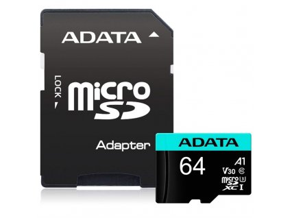Paměťová karta ADATA Premier Pro Micro SDXC 64GB UHS-I U3 (95R/30W) + adaptér