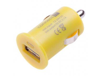 Adaptér do auta Connect IT InCarz COLORZ, 1x USB, 2,1A - žlutý