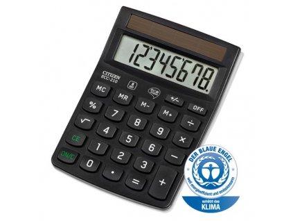 Citizen Kalkulačka ECC210, černá, stolní, osmimístná, šetrná k životnímu prostředí, solární napájení