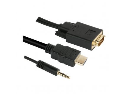 Kabel GoGEN HDMI / VGA vč. Jack 3,5mm, 1,5m, pozlacený - černý