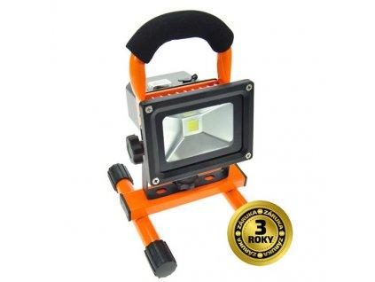 LED reflektor Solight 10W, studená bílá, nabíjecí, 700lm - černý/oranžový